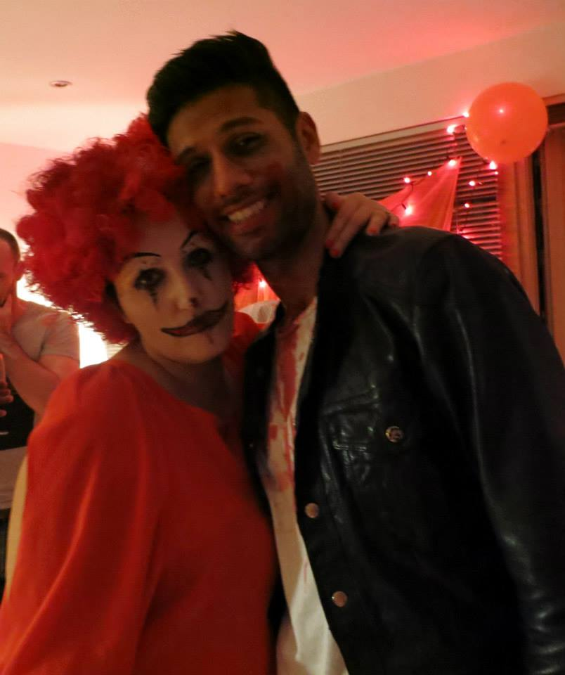 Scary Clown with the party host