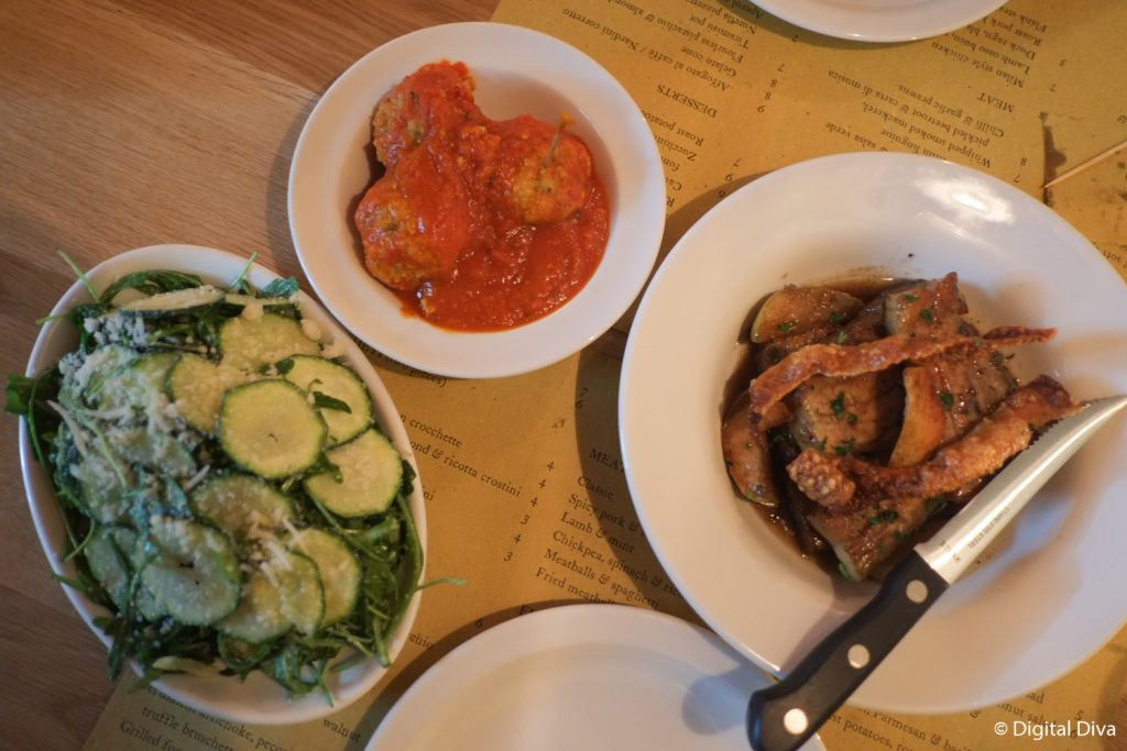 Meatballs, zuccini salad and belly pork