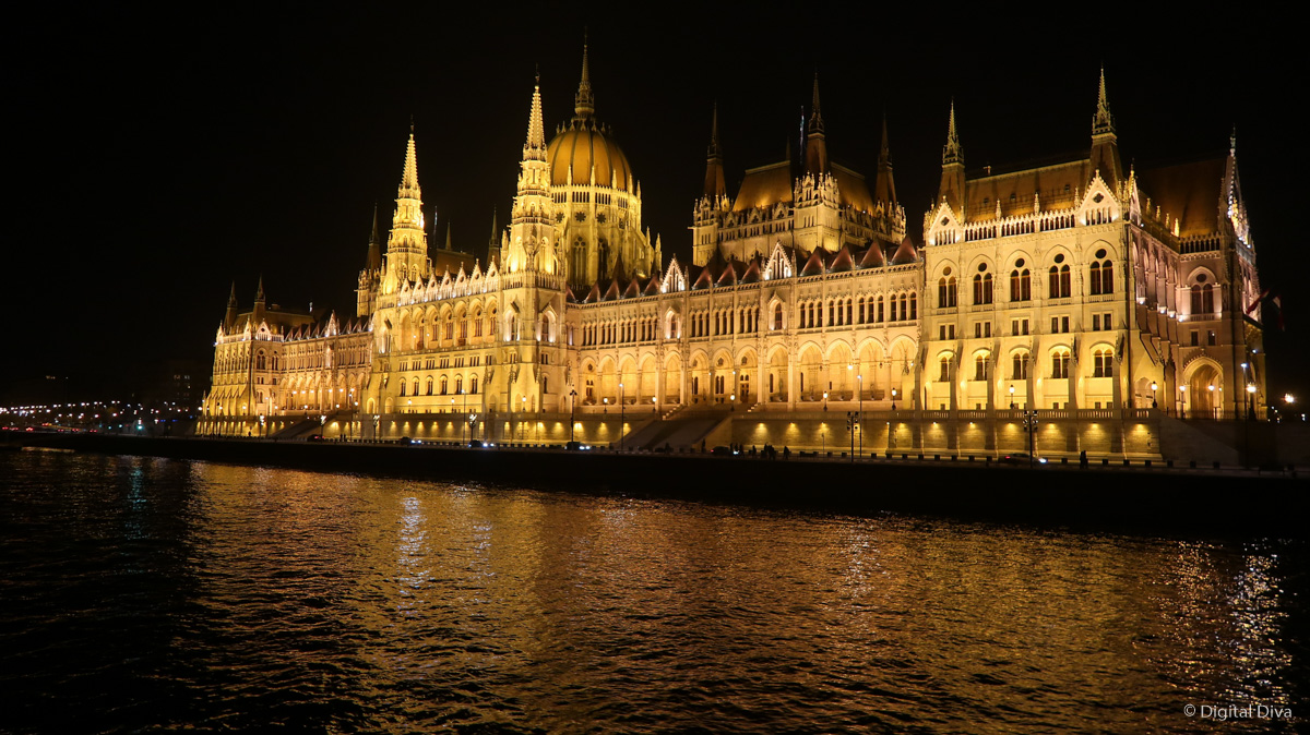 The parliament building view from the Danube Dinner Cruise in Budapest