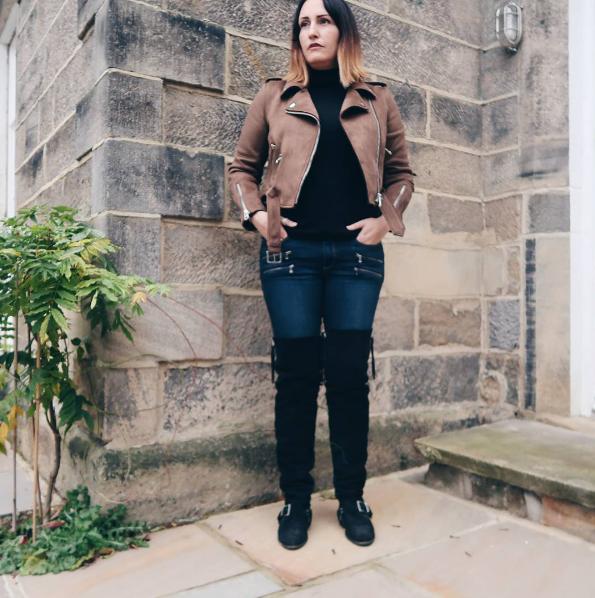 Zara Suede Biker Jacket with Over The Knee Boots